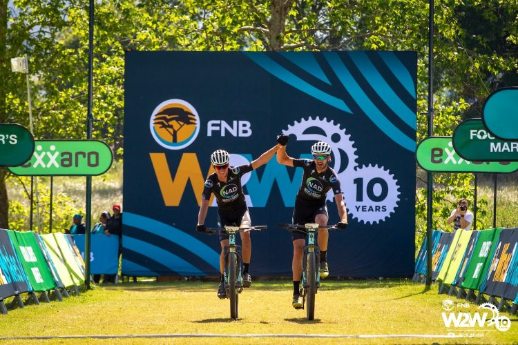 Wessel Botha and Matt Beers win Stage 1 of the 2018 FNB Wines2Whales Shiraz 3 day mountain bike event  from Lourensford to Oak Valley. Image by Nick Muzik