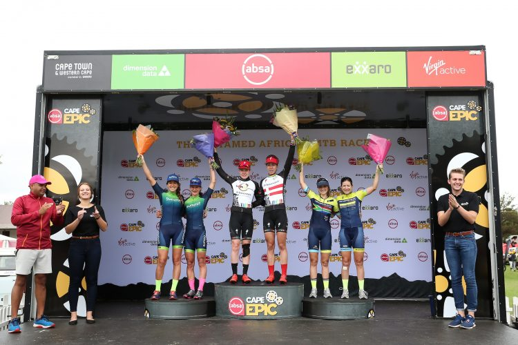 Womens Podium: 2nd Place Candice Lill & Adelheid Morath of Summit Fin, 1st Place Anna van der Breggen & Annika Langvad of Investec-Songo-Specialized, 3rd Mariske Strauss & Place Jennie Stenerhag of Silverback - Fairtree during stage 3 of the 2019 Absa Cape Epic Mountain Bike stage race held from Oak Valley Estate in Elgin, South Africa on the 20th March 2019.  Photo by Shaun Roy/Cape Epic