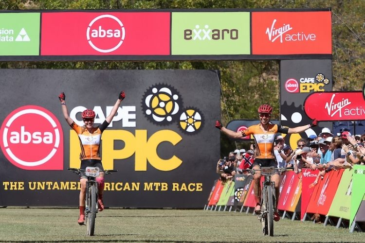 Anna van der Breggen & Annika Langvad of Investec-Songo-Specialized celebrate winning stage 6 of the 2019 Absa Cape Epic Mountain Bike stage race from the University of Stellenbosch Sports Fields in Stellenbosch, South Africa on the 23rd March 2019  Photo by Shaun Roy/Cape Epic