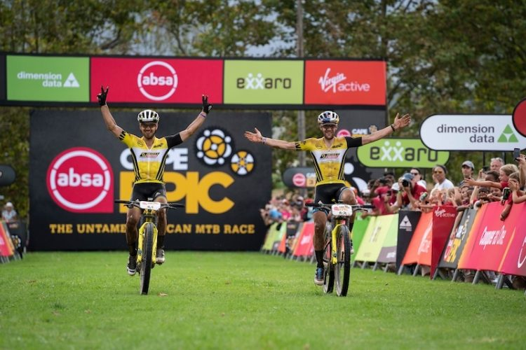 Nino Schurter  and Lars Forster of Scott SRAM win stage 2 of the 2019 Absa Cape Epic Mountain Bike stage race from Hermanus High School in Hermanus to Oak Valley Estate in Elgin, South Africa on the 19th March 2019  Photo by Nick Muzik/Cape Epic