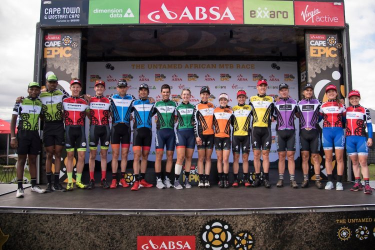 Podiums during the final stage (stage 7) of the 2018 Absa Cape Epic Mountain Bike stage race from Huguenot High in Wellington to Val de Vie in Paarl, South Africa on the 25th March 2018  Photo by Andrew McFadden/Cape Epic/SPORTZPICS  PLEASE ENSURE THE APPROPRIATE CREDIT IS GIVEN TO THE PHOTOGRAPHER AND SPORTZPICS ALONG WITH THE ABSA CAPE EPIC  {ace2018}