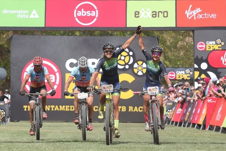 Candice Lill and Adelheid Morath of Summit Fin celebrate winning stage 5 of the 2019 Absa Cape Epic Mountain Bike stage race held from Oak Valley Estate in Elgin to the University of Stellenbosch Sports Fields in Stellenbosch, South Africa on the 22nd March 2019.  Photo by Shaun Roy/Cape Epic