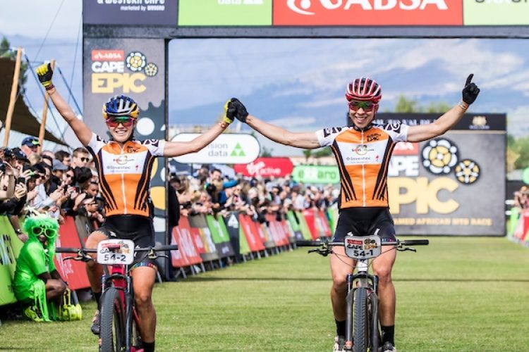 Annika Langvad & Kate Courtney celebrate winning the 2018 Absa Cape Epic after the final stage (stage 7) of the 2018 Absa Cape Epic Mountain Bike stage race from Huguenot High in Wellington to Val de Vie in Paarl, South Africa on the 25th March 2018  Photo by Ewald Sadie/Cape Epic/SPORTZPICS  PLEASE ENSURE THE APPROPRIATE CREDIT IS GIVEN TO THE PHOTOGRAPHER AND SPORTZPICS ALONG WITH THE ABSA CAPE EPIC  {ace2018} during the final stage (stage 7) of the 2018 Absa Cape Epic Mountain Bike stage race from Huguenot High in Wellington to Val de Vie in Paarl, South Africa on the 25th March 2018  Photo by Ewald Sadie/Cape Epic/SPORTZPICS  PLEASE ENSURE THE APPROPRIATE CREDIT IS GIVEN TO THE PHOTOGRAPHER AND SPORTZPICS ALONG WITH THE ABSA CAPE EPIC  {ace2018}