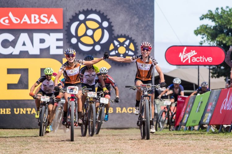 Annika Langvad & Kate Courtney during stage 1 of the 2018 Absa Cape Epic Mountain Bike stage race held from Arabella Wine Estate in Robertson, South Africa on the 19th March 2018  Photo by Ewald Sadie/Cape Epic/SPORTZPICS  PLEASE ENSURE THE APPROPRIATE CREDIT IS GIVEN TO THE PHOTOGRAPHER AND SPORTZPICS ALONG WITH THE ABSA CAPE EPIC  {ace2018}