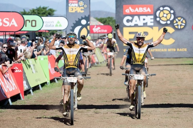 Manuel Fumic and Henrique Avancini of team Cannondale Factory Racing win stage 2 of the 2018 Absa Cape Epic Mountain Bike stage race held from Arabella Wine Estate in Robertson, South Africa on the 20th March 2018  Photo by Greg Beadle/Cape Epic/SPORTZPICS  PLEASE ENSURE THE APPROPRIATE CREDIT IS GIVEN TO THE PHOTOGRAPHER AND SPORTZPICS ALONG WITH THE ABSA CAPE EPIC  {ace2018}