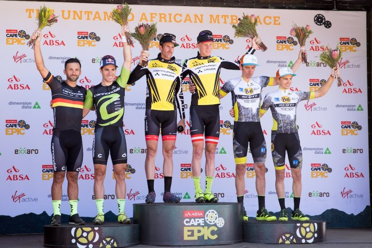 Nicola Rohrbach and Daniel Geismayr of team Centurion Vaude win the Prologue of the 2018 Absa Cape Epic Mountain Bike stage race held at the University of Cape Town (UCT) in Cape Town, South Africa on the 18th March 2018  Photo by Greg Beadle/Cape Epic/SPORTZPICS  PLEASE ENSURE THE APPROPRIATE CREDIT IS GIVEN TO THE PHOTOGRAPHER AND SPORTZPICS ALONG WITH THE ABSA CAPE EPIC  {ace2018}