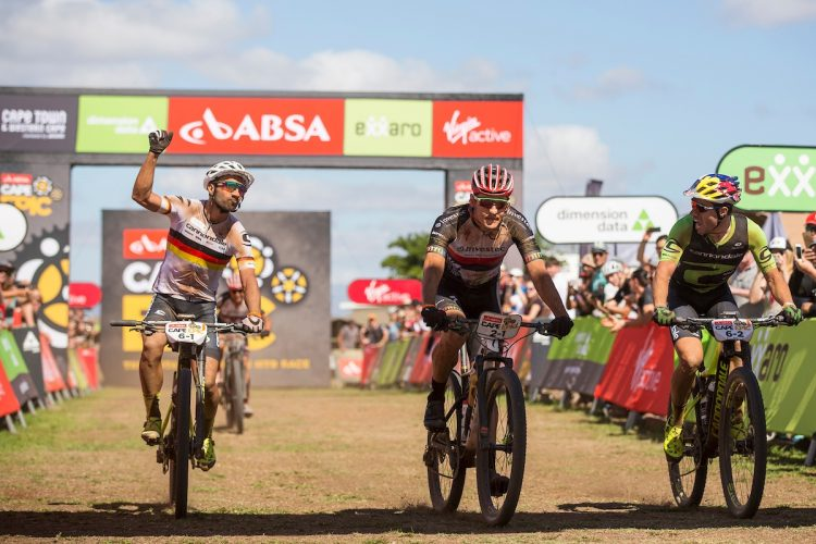 Manuel Fumic and Henrique Avancini  of Cannondale Factory Racing celebrate winning stage 1 of the 2018 Absa Cape Epic Mountain Bike stage race held from Arabella Wine Estate in Robertson, South Africa on the 19th March 2018  Photo by Nick Muzik/Cape Epic/SPORTZPICS  PLEASE ENSURE THE APPROPRIATE CREDIT IS GIVEN TO THE PHOTOGRAPHER AND SPORTZPICS ALONG WITH THE ABSA CAPE EPIC  {ace2018}