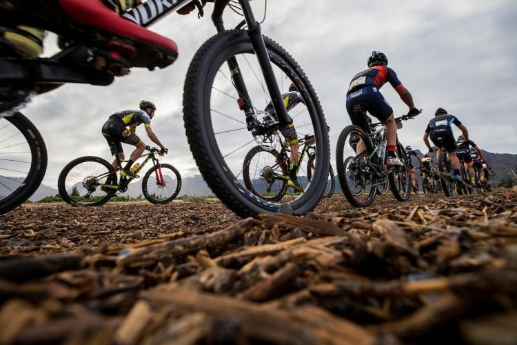 Riders during the final stage (stage 7) of the 2018 Absa Cape Epic Mountain Bike stage race from Huguenot High in Wellington to Val de Vie in Paarl, South Africa on the 25th March 2018  Photo by Nick Muzik/Cape Epic/SPORTZPICS  PLEASE ENSURE THE APPROPRIATE CREDIT IS GIVEN TO THE PHOTOGRAPHER AND SPORTZPICS ALONG WITH THE ABSA CAPE EPIC  {ace2018}