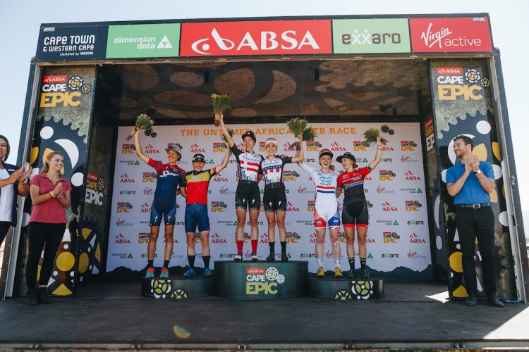 Podium with female pro riders on during stage 2 of the 2018 Absa Cape Epic Mountain Bike stage race held from Arabella Wine Estate in Robertson, South Africa on the 20th March 2018  Photo by Nina Zimolong/Cape Epic/SPORTZPICS  PLEASE ENSURE THE APPROPRIATE CREDIT IS GIVEN TO THE PHOTOGRAPHER AND SPORTZPICS ALONG WITH THE ABSA CAPE EPIC  {ace2018}