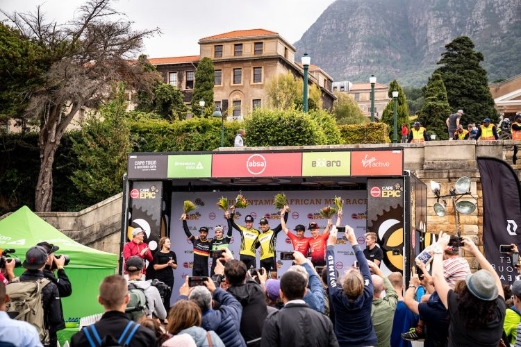 Nino Schurter and Lars Forster of SCOTT SRAM win the Prologue of the 2019 Absa Cape Epic Mountain Bike stage race held at the University of Cape Town in Cape Town, South Africa on the 17th March 2019.  Photo by Nick Muzik/Cape Epic