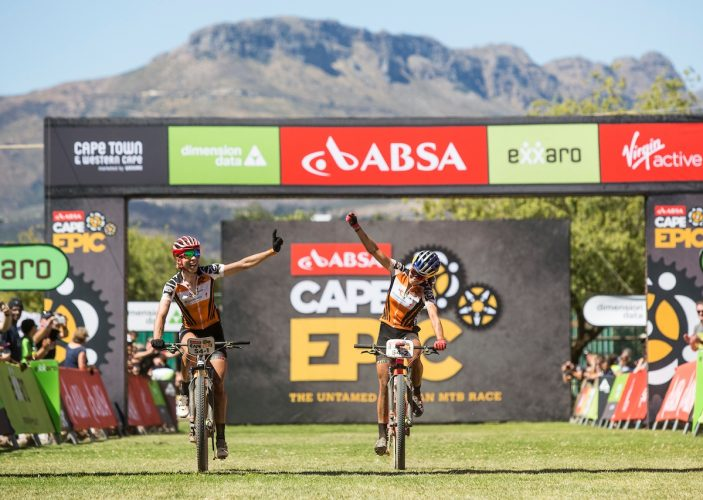 Kate Courtney and Annika Langvad win stage 4 of the 2018 Absa Cape Epic Mountain Bike stage race from HTS Drostdy in Worcester to Huguenot High School in Wellington, South Africa on the 22nd March 2018  Photo by Sam Clark/Cape Epic/SPORTZPICS  PLEASE ENSURE THE APPROPRIATE CREDIT IS GIVEN TO THE PHOTOGRAPHER AND SPORTZPICS ALONG WITH THE ABSA CAPE EPIC  {ace2018}