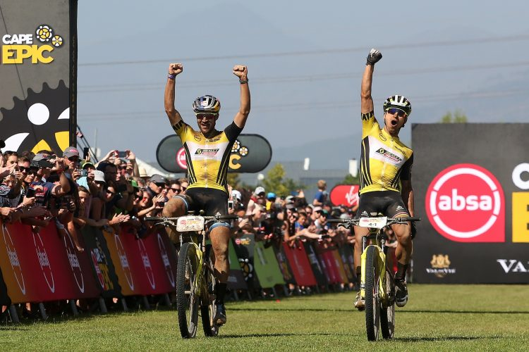 Lars Forster and Nino Schurter of Scott-SRAM MTB-Racing celebrate winning the 2019 Absa Cape Epic during the final stage (stage 7) of the 2019 Absa Cape Epic Mountain Bike stage race from the University of Stellenbosch Sports Fields in Stellenbosch to Val de Vie Estate in Paarl, South Africa on the 24th March 2019.  Photo by Shaun Roy/Cape Epic