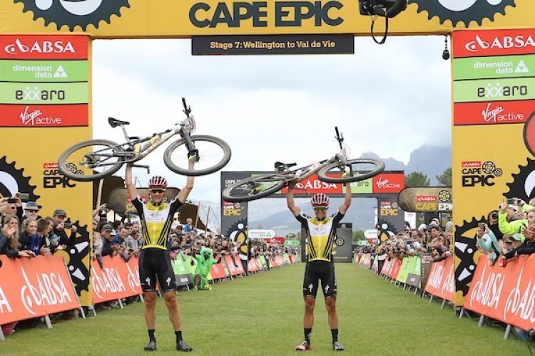 2018 Absa Cape Epic Winners Jaroslav Kulhavy and Howard Grotts of Investec Songo Specialized during the final stage (stage 7) of the 2018 Absa Cape Epic Mountain Bike stage race from Huguenot High in Wellington to Val de Vie in Paarl, South Africa on the 25th March 2018  Photo by Shaun Roy/Cape Epic/SPORTZPICS  PLEASE ENSURE THE APPROPRIATE CREDIT IS GIVEN TO THE PHOTOGRAPHER AND SPORTZPICS ALONG WITH THE ABSA CAPE EPIC  {ace2018}