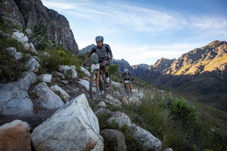 Louis  Meija and Johnny Cattaneo of  7C CBZ WILIER during stage 6 of the 2019 Absa Cape Epic Mountain Bike stage race from the University of Stellenbosch Sports Fields in Stellenbosch, South Africa on the 23rd March 2019  Photo by Nick Muzik/Cape Epic