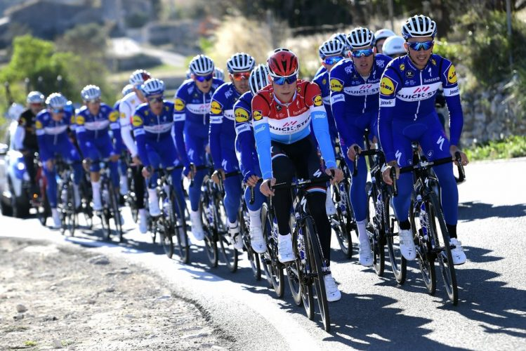 Calpe - Spain - wielrennen - cycling - cyclisme - radsport - JUNGELS Bob (LUX) Rider of Quick-Step Floors Cycling team and ALAPHILIPPE Julian (FRA) Rider of Quick-Step Floors Cycling team  pictured during a team training prior to the official team presentation of the Quick-Step Floors Pro cycling team 2018 at the Hotel Suitopia on January 09, 2018 in Calpe, Spain - photo NV/PN/Cor Vos © 2018